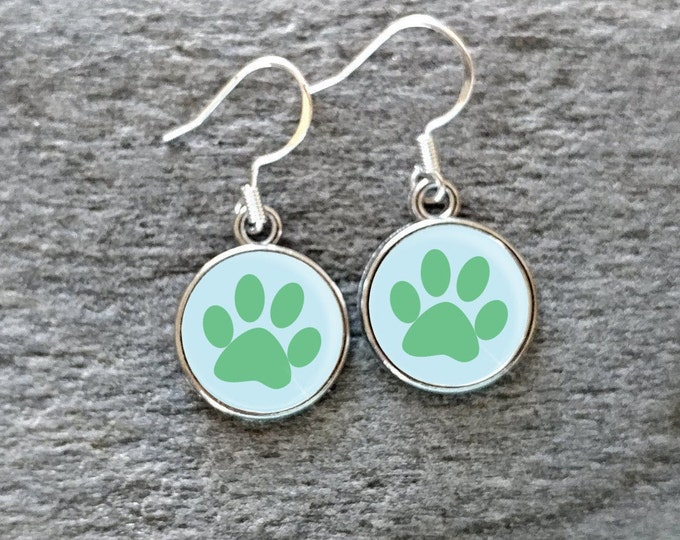 Paw Print Earrings, Handmade, Multiple Images, 12  Settings Available, PP-E-Please call for wholesale prices