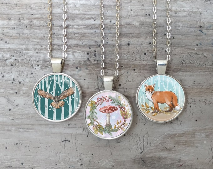 Kid's Autumn Woodland Necklace, Silver or Bronze, KAW-N- Please call for wholesale prices