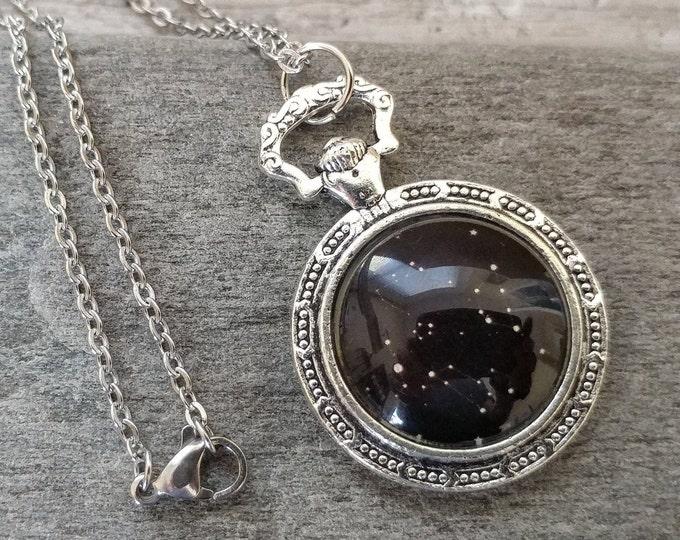 Pocket Watch Celestial Necklace, Silver