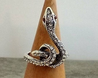 Diamond Snake Ring, Snake knot Ring, Statement Ring