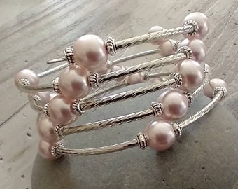 Gorgeous Pink Memory Wire Bracelet, Please Call to Unlock Wholesale Pricing