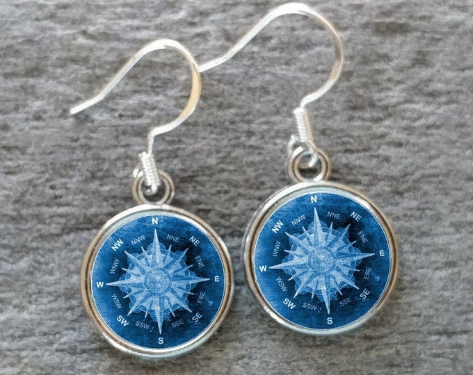 Compass Earrings, Handmade, Multiple Images, 12  Settings Available, COMP-E-Please call for wholesale prices