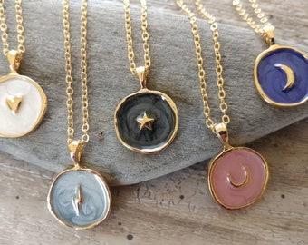 Adorable Little Celestial Pendant Necklaces, Heart Necklace, Star Necklace, Lightning Necklace