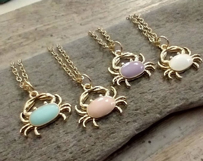 Cutest Ever Crab Necklace, Gold Crab Necklace, Maryland Crab Necklace, Minimalist Crab Necklace