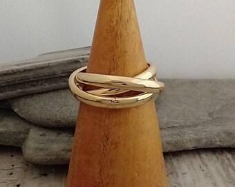 Gold Interlocking Ring, Gold Layer Ring, Figit Ring