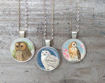 Kid's Owl Necklace, Silver or Bronze, OWL-N