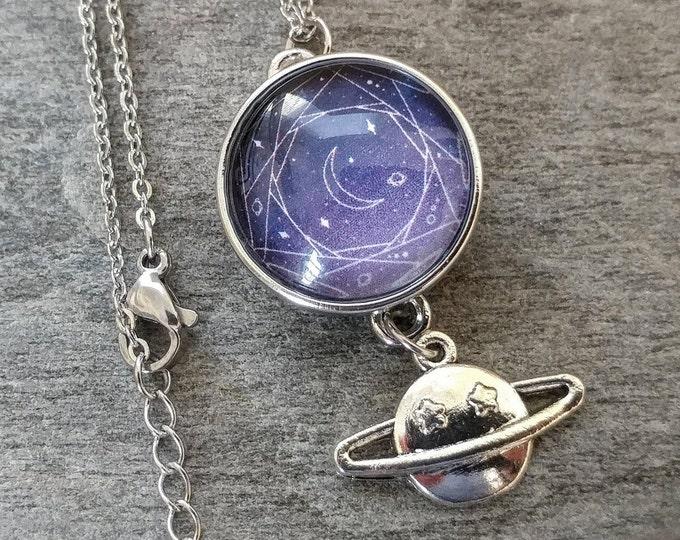 Celestial Snap Necklace, Silver