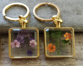 Pressed Flower Key Chains, PFKC-2- Please call for wholesale pricing