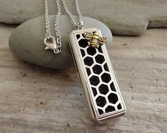 Bumble Bee Aromatherapy Necklace, Essential Oil Diffuser Locket, Aromatherapy Gift