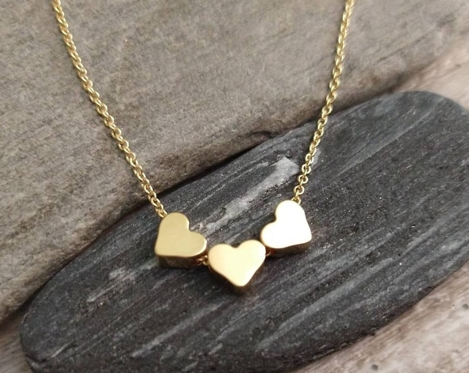 Tiny Triple Heart Necklace, Available in Silver or Gold
