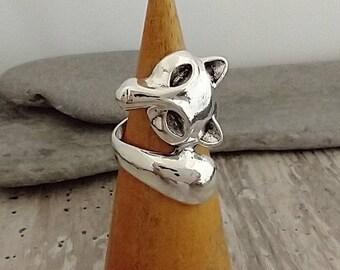 Fox Statement Ring, Silver Fox Wraparound Ring