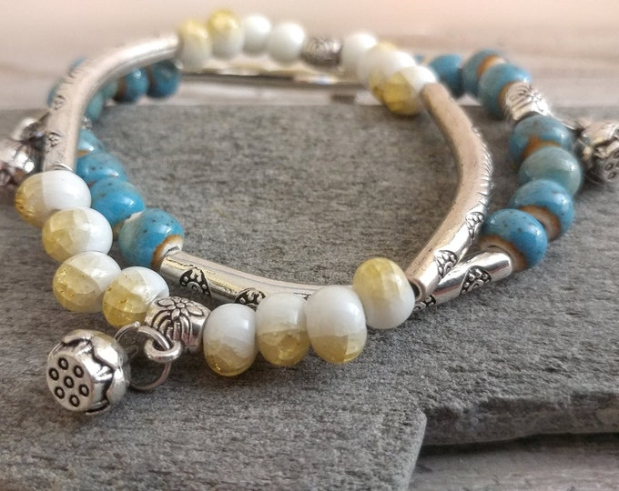 Double Boho Bracelet, Summer, BEADB-6- Please call for wholesale pricing