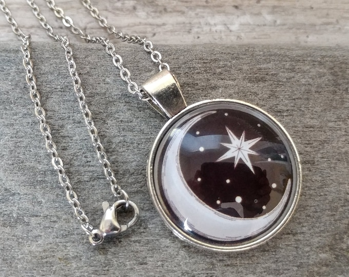 Whimsical Celestial Stars & Moon Necklace, Silver or Antique Bronze