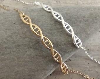 Elegant DNA Bracelet, Silver DNA Bracelet, Gold DNA Bracelet, Ancestry Necklace