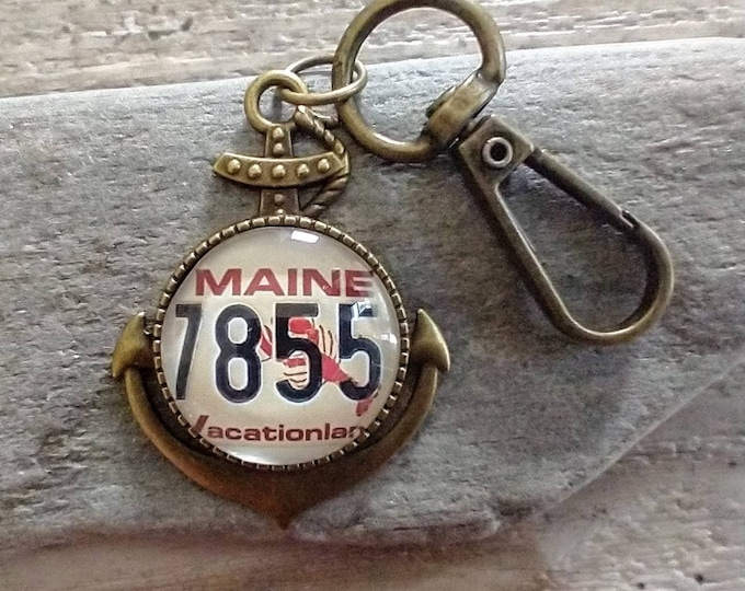 Anchor Key Chain with Vintage Maine Lobster Plate, Customize With Any Image, List Price Reflects MSRP
