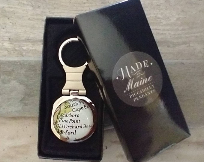 Custom Keychain, Customize with a Vintage Map, Logo or Image