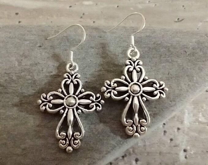 Silver Cross Earrings, List Prices reflect MSRP, ME-CROSS-1