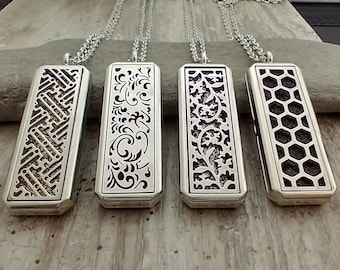 Geo & Scroll Aromatherapy Necklaces, List Prices reflect MSRP, AN-GEO