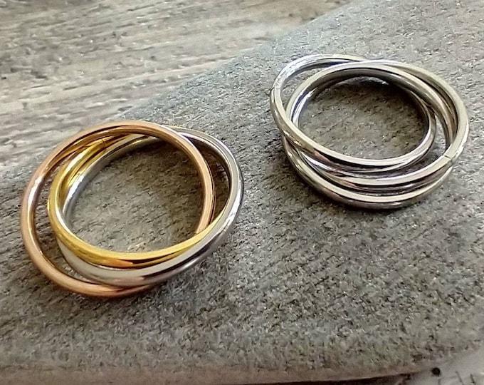 Interlocking Ring, Rhodium Interlocking Ring, Fidget Ring, Rolling Ring, Silver or Silver & Gold Available