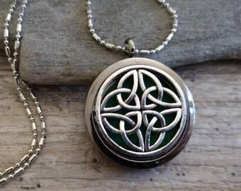 Beautiful Essential Oil Locket, Aromatherapy Necklace, Essential Oil Diffuser Locket, Celtic Necklace