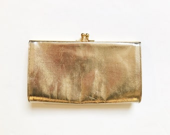 Vintage Gold Clutch Bag   Vintage Gold Evening Bag   Minimalist Gold Clutch  Purse   Faux Leather Evening Purse d56bf08e48