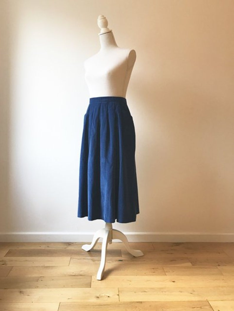 015248986 Vintage Blue Corduroy Skirt Medium Corduroy Skirt with | Etsy