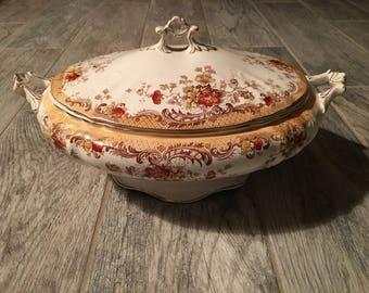 1920s RARE Antique William Hulme (Burslem, Endland) Ophir Red (Gold Trim) Oval Covered Vegetable Dish