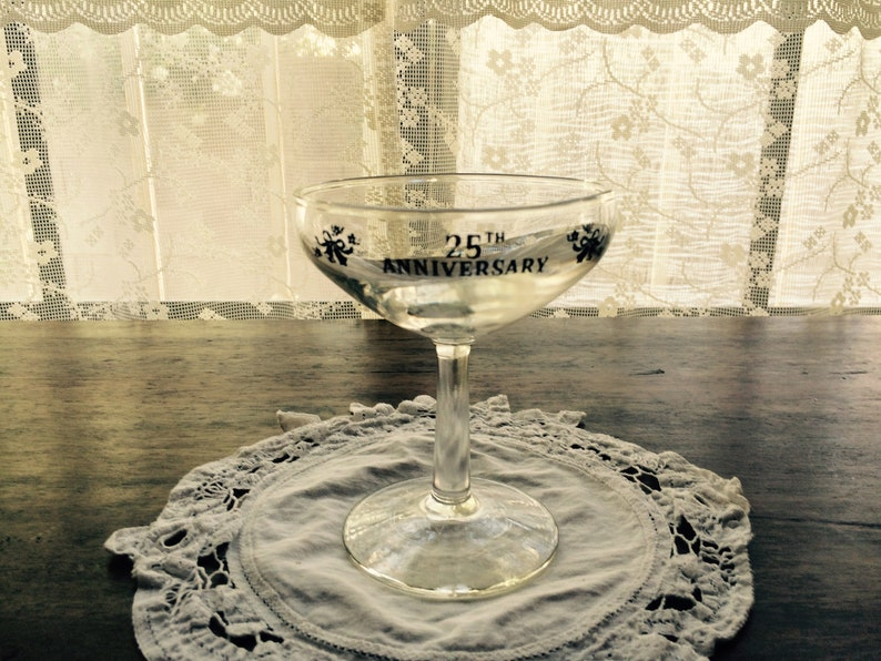 Vintage 25th Anniversary Glass and Platinum Trimmed Silver Leaf Champagne Glasses set of 3