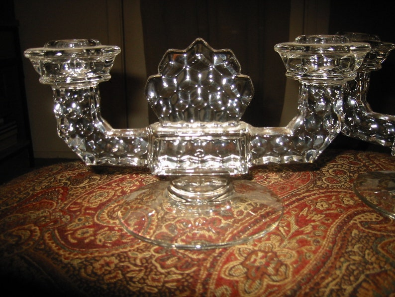 pair 1940s Fostoria American #2056 Crystal Double Flat Foot Candlestick