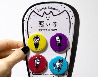 Little Demons 4 Pin button set - badge
