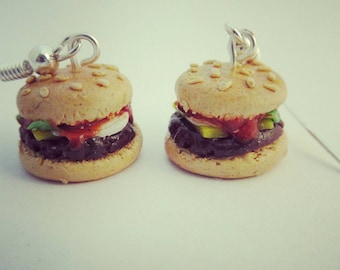 Tiny cheeseburger earrings, realistic food