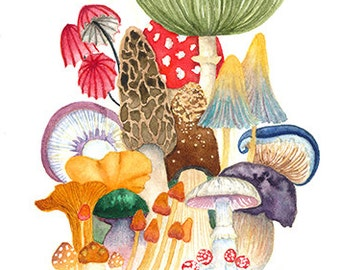 "Woodland Mushroom Collage - Watercolor Painting Art Print (8.5x11"")"