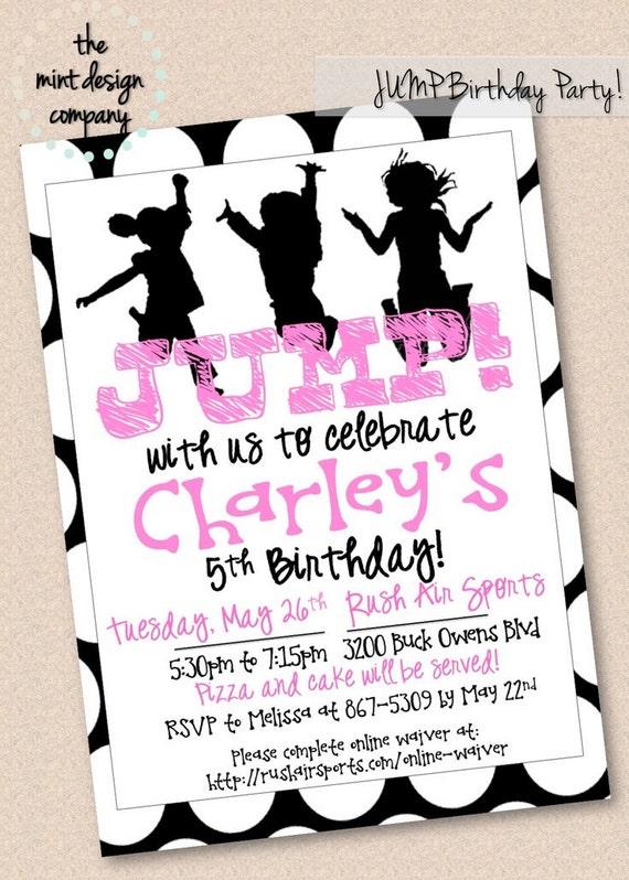 Girls JUMP Trampoline Park Birthday Party Invitation Digital