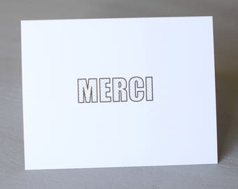 Merci Thank You Cards Notecards Folded Note Cards A2 Set of 10 Grateful Gratitude Thanks Gold Polka Dot