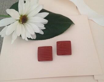 Square Earrings - Rust Colored Earrings - 1970s Earrings - Clip on Earrings - Unique Earrings - Red Earrings - Dark Red Earrings - Vintage