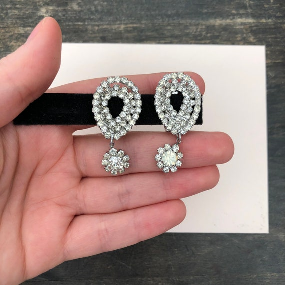 Vintage Bridal Rhinestone Earrings - Wedding Earri