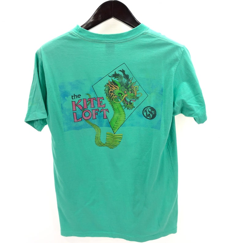 fa44bc5d1fbee THE KITE LOFT Mens M Medium T-shirt Vintage Teal Blue Green Made in Usa