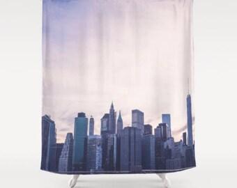 New York City Shower Curtain Nyc Bath Decor Skyline Urban Brooklyn Bridge Manhattan Purple