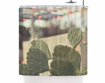 Southwestern Decor Shower Curtain Austin Texas Cactus Cacti Bathroom Green Brown Golden Modern West Bath