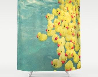 Funny Shower Curtain Rubber Duck Aqua Bathroom Decor Curtains Escape Apartment Kids Children