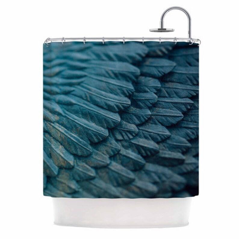 Angel Shower Curtain Ombre Blue Bathroom Decor Surreal