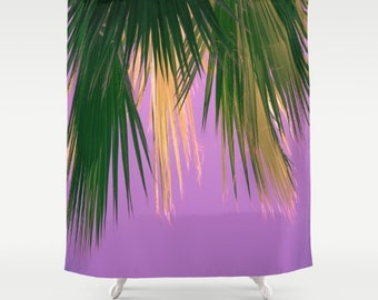Charmant Beach Shower Curtain, Palm Tree Shower Curtain, Beach Bath Decor, Boho Bath  Decor, Summer Decor, Purple, Palm Trees, Nature Photography