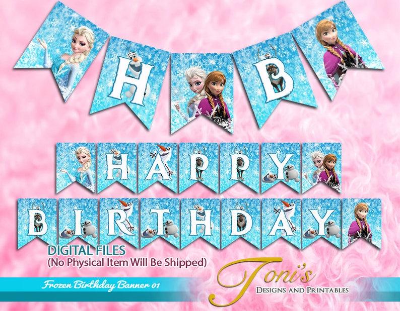 image about Frozen Banner Printable named Frozen Birthday Banner, Frozen Banner Printable, Frozen Birthday Buntings, Frozen Topic, Printable Banner, Garland, Celebration Decor 01