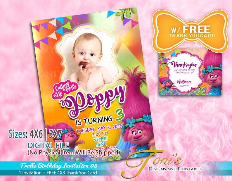 TROLLS Photo Invitation Birthday With FREE