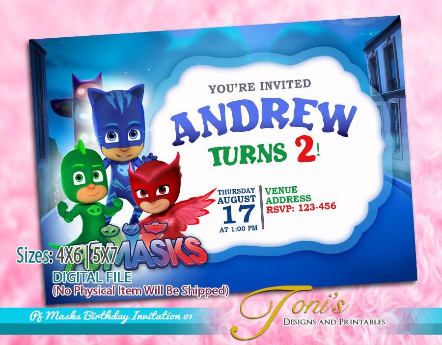 PJ MASKS Invitation Masks Birthday Pj