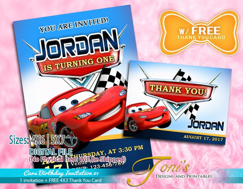 photograph regarding Disney Cars Birthday Invitations Printable Free known as Automobiles Invitation, Disney Autos Birthday Invitation w/ Absolutely free Thank Oneself Card, McQueen Topic Bash, McQueen Invitation, Autos McQueen Printable 01