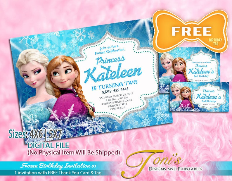 picture regarding Free Frozen Printable named FROZEN Invitation, Frozen Birthday Invitation, Totally free Frozen Thank Your self Card  Tag, Frozen Concept Bash, Frozen Printable, Free of charge Modifying 01
