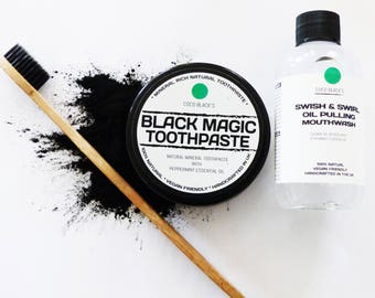Black Magic Charcoal Tooth Polish +  Coconut & Peppermint Oil Pulling Mouthwash  + Bamboo Charcoal Bristle Toothbrush