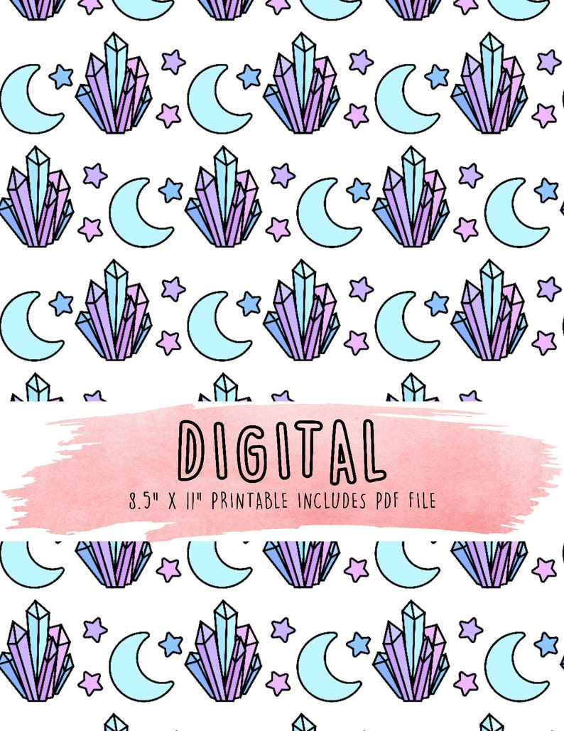 photo about Printable Vellum named crystal and moon electronic vellum printable vellum, electronic paper, planner components, printable paper, tn vellum, planner dashboards