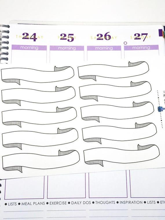bullet journal blank banner 03 planner sticker bujo etsy